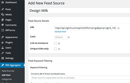 Adding a feed source