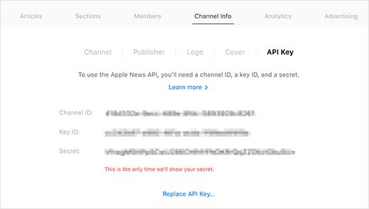 Apple news API keys