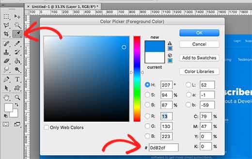 Color picker in Adobe Photoshop