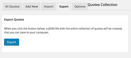 Export your quotes collection