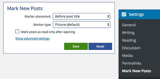 Mark new posts settings