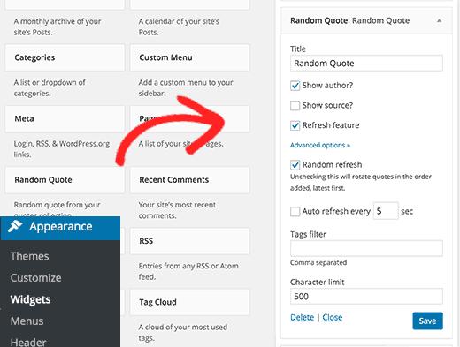 Adding random quotes widget to WordPress sidebar