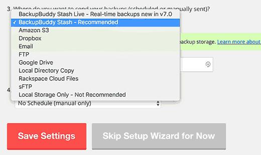 Choose where to save backups