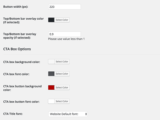 TLDR CTA display settings