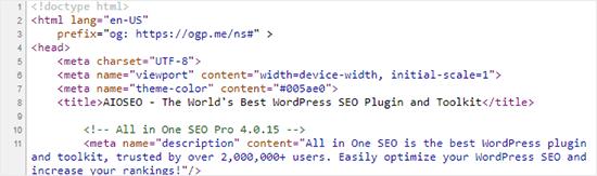 Meta information added by WordPress plugins