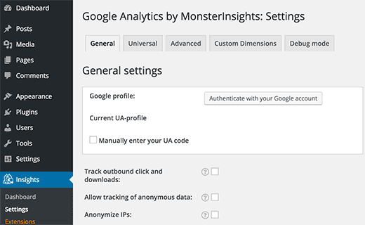 Authenticate Google Account to select your Analytics profile