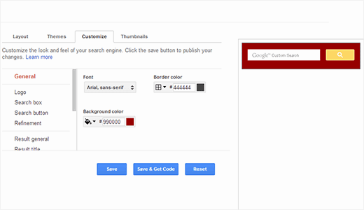 Customize colors and appearance of Google custom search