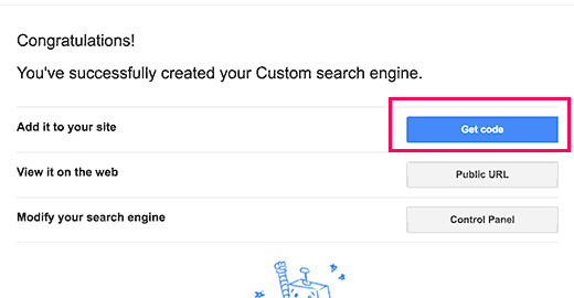 Get code for your Google custom search engine