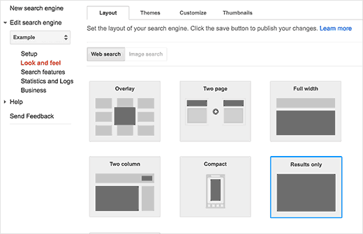 Choose layout for search results page