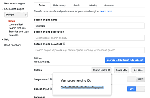 Copy your Google custom search engine ID