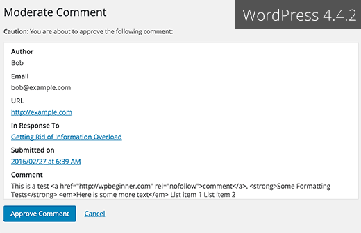 Old comment moderation page in WordPress 4.4 and earlier