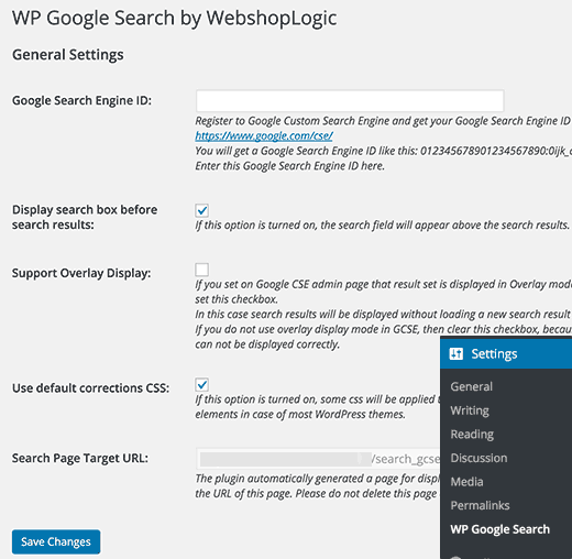 Settings page for WP Google Search