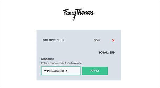 Apply coupon code