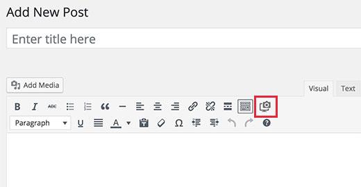 Browser Shots button in WordPress visual editor