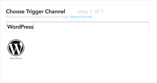 Select WordPress as your IFTTT trigger channel