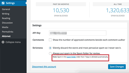 Comment spam delete schedule shown in Akismet settings