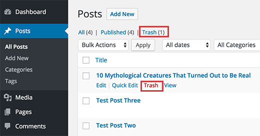 Trash links on Posts screen