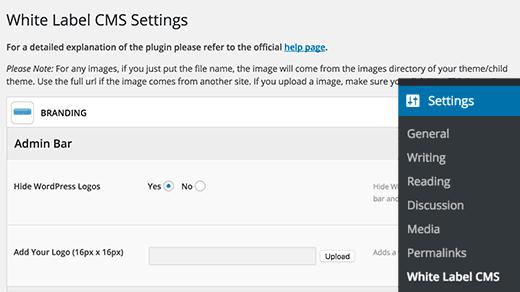 Thêm logo bảng điều khiển tùy chỉnh trong WordPress bằng cách sử dụng plugin CMS thẻ trắng
