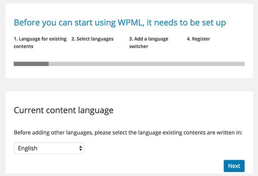 WPML Setup - Choose primary language