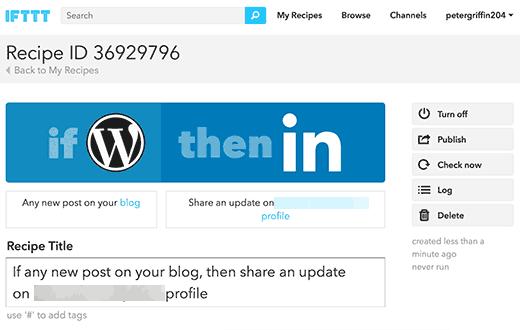 Your WordPress to LinkedIn recipe on IFTTT