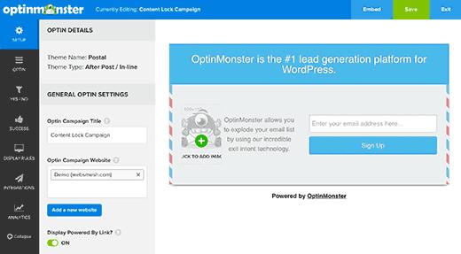 OptinMonster's optin builder