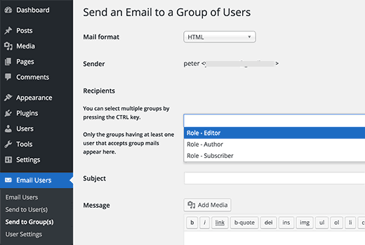 Send email to specific user roles or groups