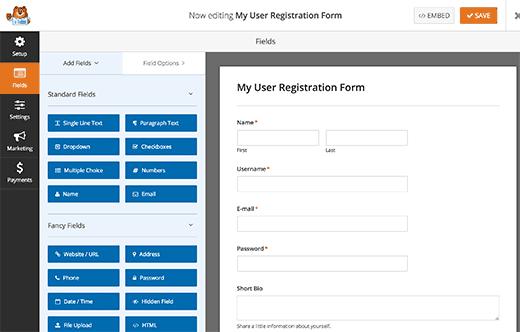 User registration form fields