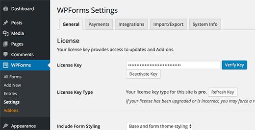Verify WPForms License