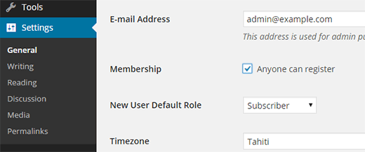 Enable user registration in WordPress