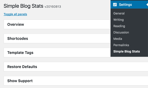 Settings page for Simple Blog Stats