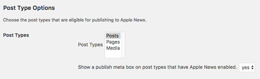 Apple News WordPress Post Type