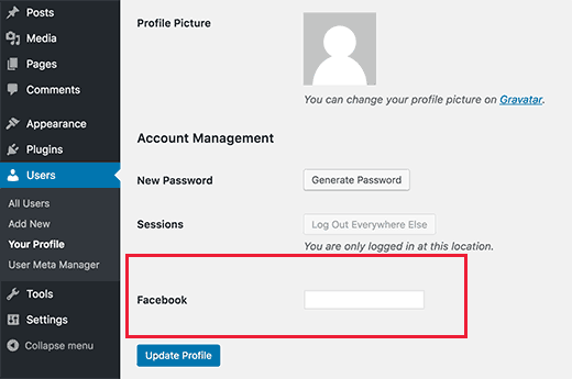 A custom user profile field to add Facebook profile URL