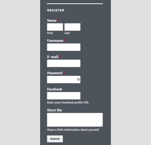 Custom registration form in sidebar