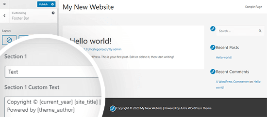 Astra theme footer credits customizer
