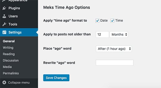 Meks Time Ago settings