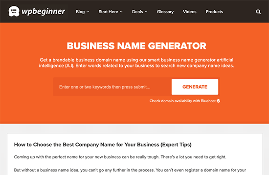 WPBeginner Business Name Generator