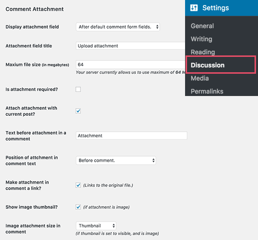 Settings page for comment attachments
