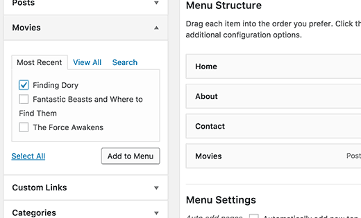 Adding single items from a post type to navigation menus