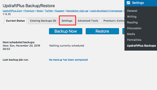 Settings page UpdraftPlus