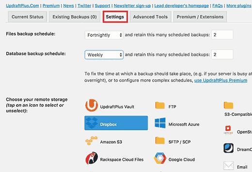 UpdraftPlus settings