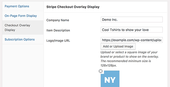 Stripe checkout settings