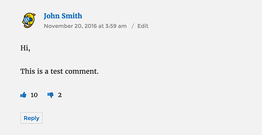 WordPress comment with like and dislike buttons