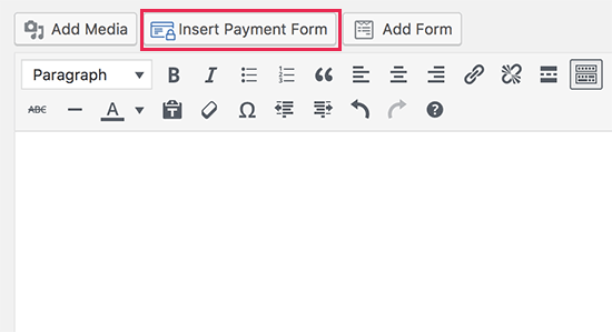 Insert payment form