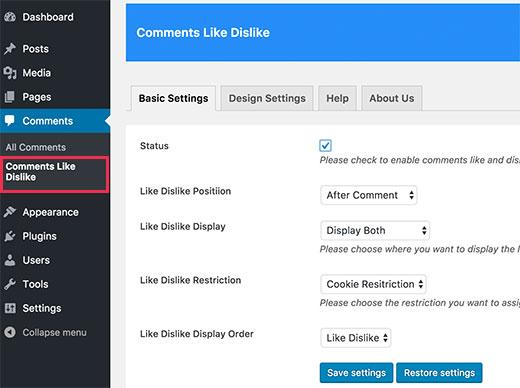 Comments like dislike settings