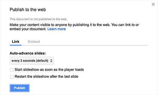 Change slideshow settings and publish your presentation