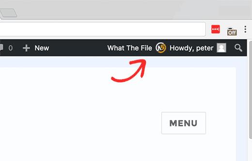 What the file menu in WordPress admin bar