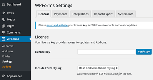 Adding your WPForms license key