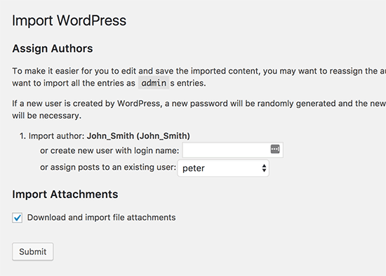 Import authors and media attachments