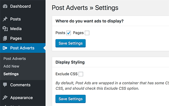 Insert Post Ads settings