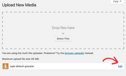 Upload and edit custom default gravatar image